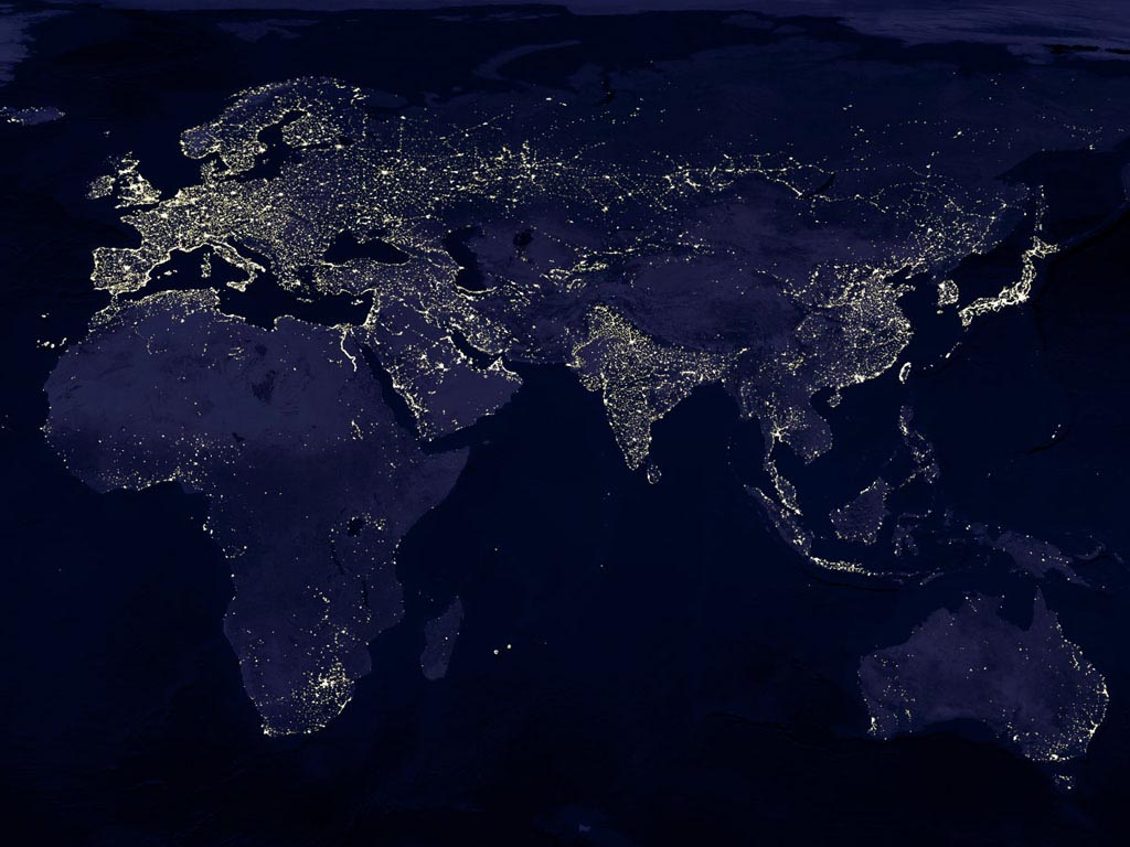 Earth In Night Surprise Me - Map of the world from space at night